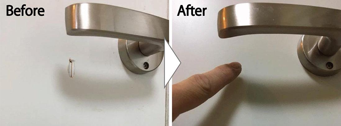 白系フラッシュ扉の穴補修