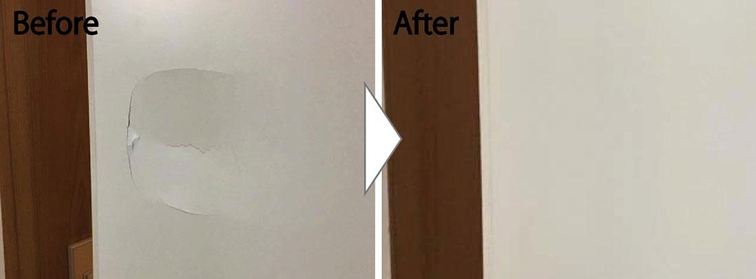 白系扉の凹み穴補修