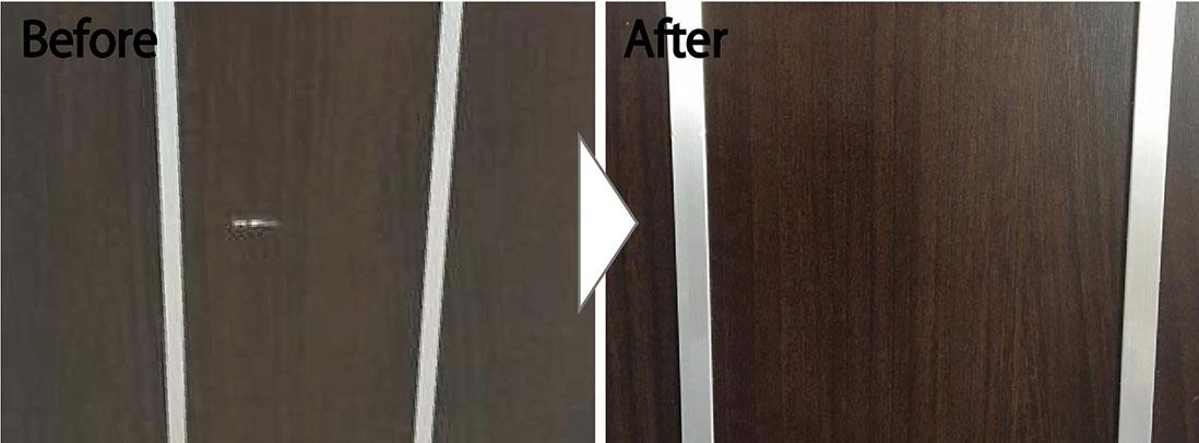扉の凹み補修