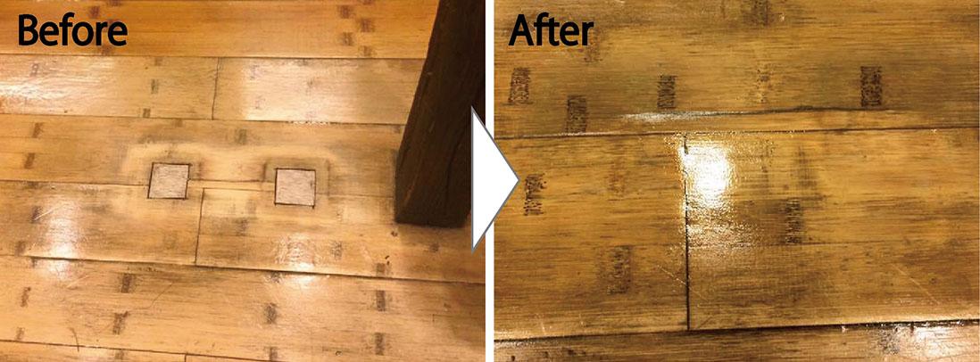 無垢の竹製のフローリング補修