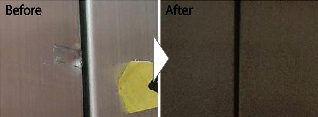 ステンレスエントランス扉の凹み補修