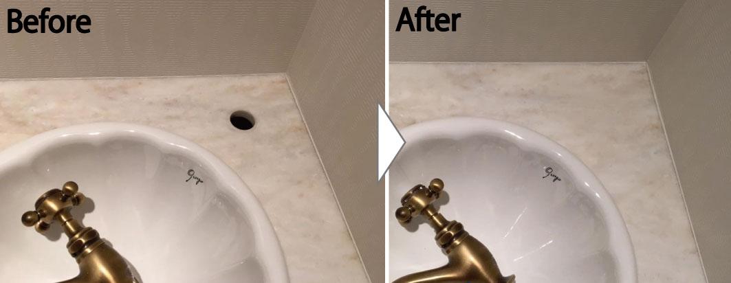 大理石の洗面台補修