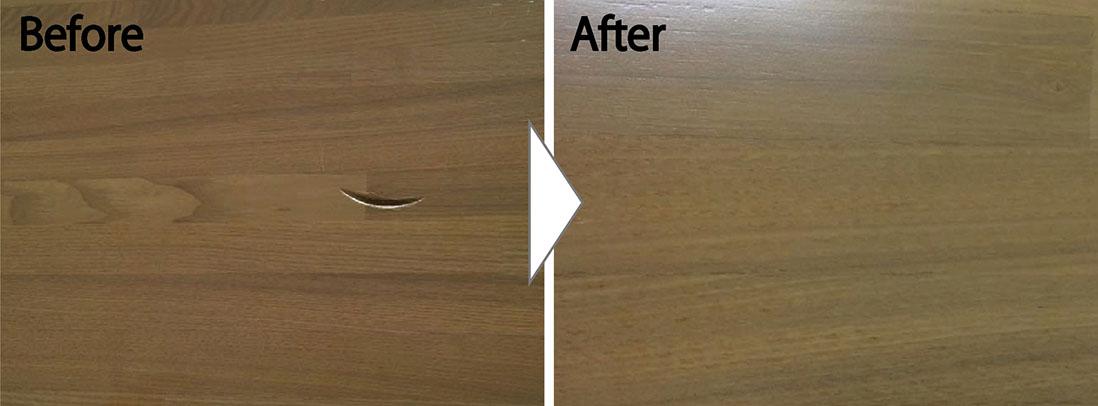 キッチンの対面カウンターの傷補修