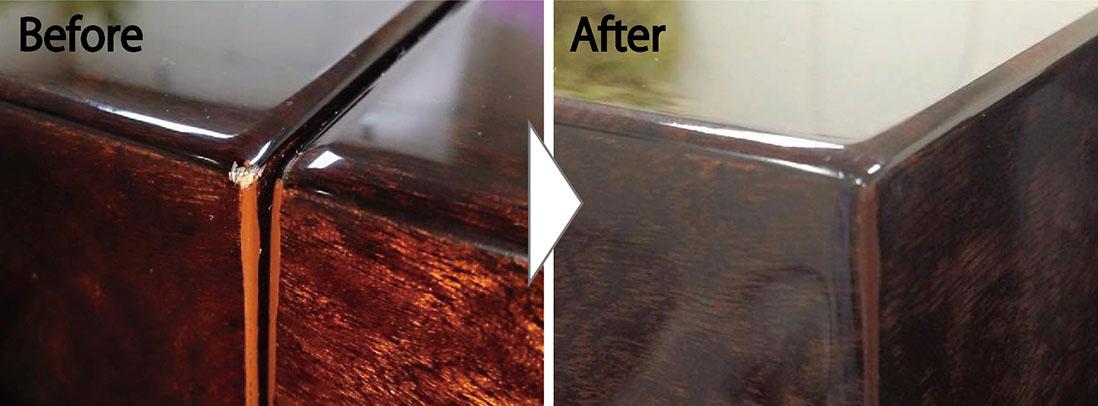 高級鏡面テーブルの角欠け補修